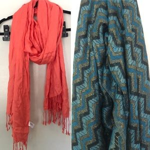 Coral & Chevron Metallic Blue Gold Pashmina Scarve